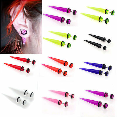 2pcs UV Fake Ear Plug Stretcher Earring taper spike cheater expander earings Top