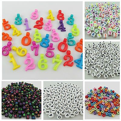 100Pcs X 6Mm Acrylic Cube Beads With Number Design - Jewellery Making
