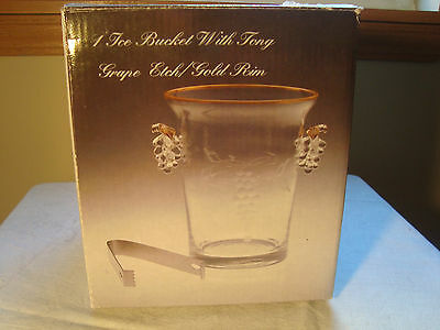 Glass Ice Bucket With Tong Grape Etch and Gold Rim NIB