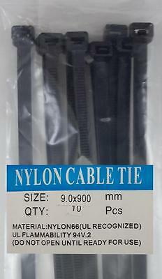 "36"" Black Nylon Cable Tie Zip Heavy Duty Plastic Wire - Pack of 10pcs"