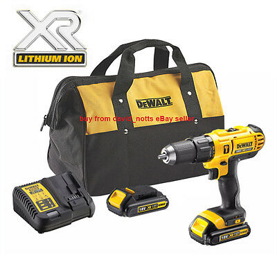 Dewalt 18V XR Cordless Combi Hammer Drill Kit Inc: 2x Li-ion XR batteries! *NEW*