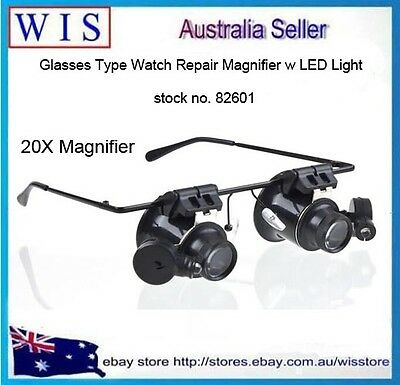 20 x Magnifier Eye Glasses Jeweler Loupe Lens LED Light Watch Repair Magnifying