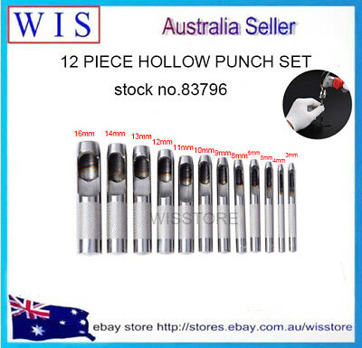 12 PC Hollow Punch Set for Leather Working and Automotive Gasket Making DIY Tool