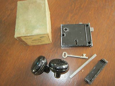 Vtg Hibbard Black Horizontal Rim Lock Set #1773M in original box