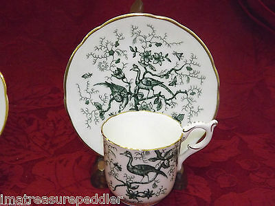 Coalport Cairo Green 8 Demitasse Cup & Saucer Sets - Birds Insects Flowers Gold