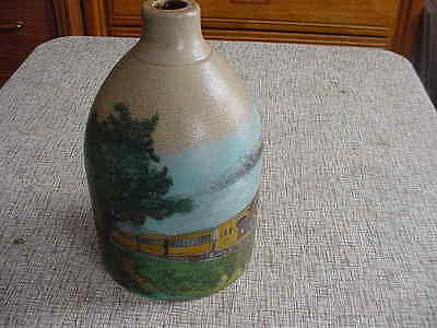 "Vtg. Hand Painted Stoneware Jug, ""Locomotive and Trains"" 1900-1940, Gray,U.S"
