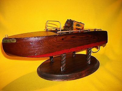 vtg toy wind up boat old solid wood pond classic seaworthy Chester Rimmer antiqu