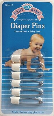 Baby King Diaper Pins - 6 Count - Color May Vary.