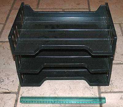 "Lot of 3 Universal 13"" x 8-1/2"" x 2-1/2"" Side Load Letter Tray - Black"