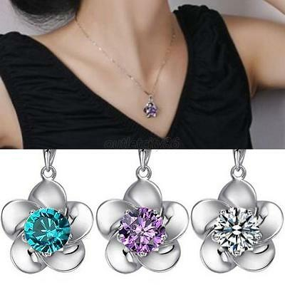 Luxury Flower Pendant 925 Sterling Silver Vogue Lady Necklace Crystal Chain O30