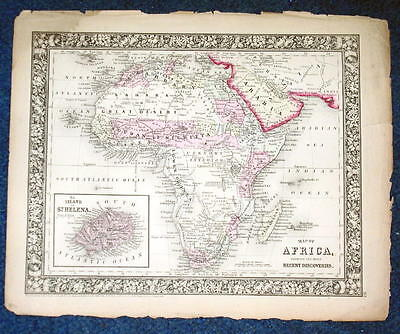 Origial 1860 Mitchell Map of Africa & Recent Discoveries, St Helena 12.5 X 15.25