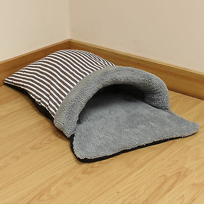 Grey Stripe Fleece Cat/Kitten/Puppy Soft Snug/Warm/Cosy Sleeping Bag Pouch/Bed