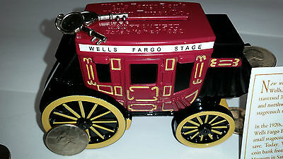 WELLS FARGO STAGECOACH COIN PIGGY HEAVY METAL BANK DIECAST WITH KEY NEW IN BOX!!