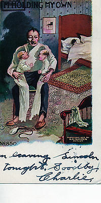 """VINTAGE POSTCARD PC 1906 H H TAMMEN SIGNED #850 """"Holding MY Own"""" embossed"""