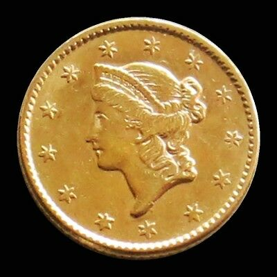 1852 Gold United States Liberty Head $ 1 Dollar Coin -Type 1 -About Uncirculated