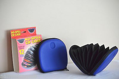 No Slip CD Case Wallet Organizer Storage Holder 12 Disc Accordion Sleeve Blue