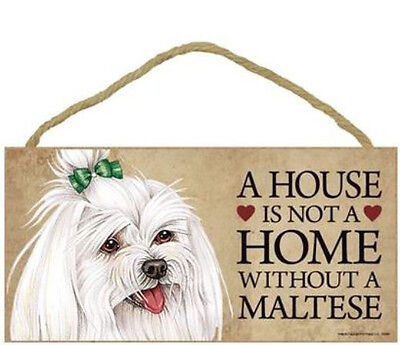 "House is Not a Home without a Maltese Sign Plaque Dog 10"" x 5""  gift long hair"