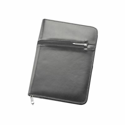 1 x New A5 Full Grain Leather Zippered Compendium, Bonus Black Metal Pen,