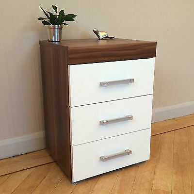 3 Drawer White & Walnut Bedside Cabinet / Table (3 Draw Chest) Bedroom Furniture