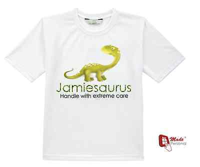 PERSONALISED CUTE DINOSAUR T -SHIRT BOYS GIRLS TOP & COTTON GIFT BAG - Any Name