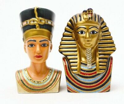 Ancient Egyptian Magnetic Salt & Pepper Shakers King Tut Pharaoh and Nefertiti