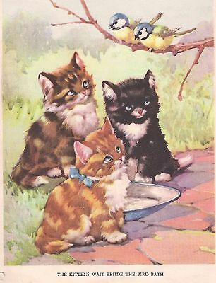 ADORABLE KITTENS 1930's CHILDRENS Vintage Art Print AE KENNEDY CUTE