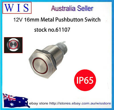 LED illuminated Momentary 16mm Push Button Switch,Stainless Steel,12V,IP65-61107