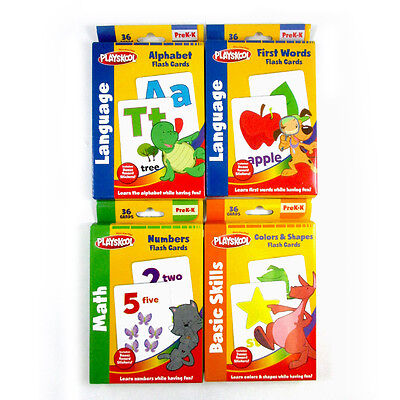 Set of 4 Playskool Flash Cards, Numbers, First Words, Colors Shapes, Alphabet !
