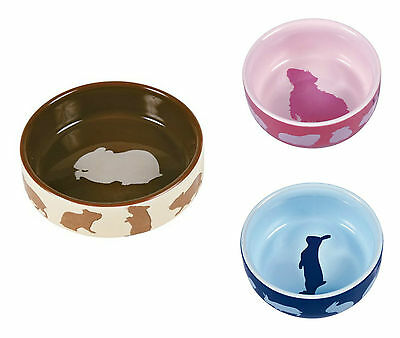 Trixie Hamster Guinea Pig Rabbit Ceramic Food Bowl Pink Blue Brown