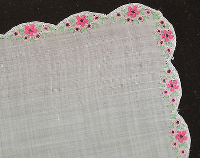 Sweet Vintage Embroidered Batiste Hanky With Beautiful Hand Work - Pink - Oo12