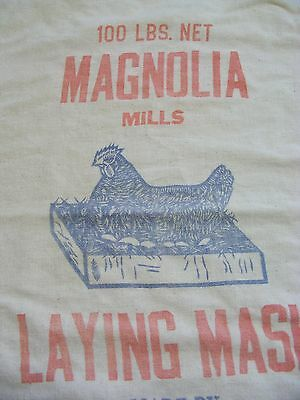 2 Vintage 100 Lb. Poultry Feed Sack Chicken Laying Mash Elson Co Magnolia Ohio