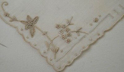 Darling Vintage Cotton Madeira Wedding Hanky With Hand Embroidery-Nwt Oo27