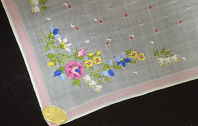 Delightful Vintage Swiss Hanky With Pastel Embroidery- Nwt Oo41