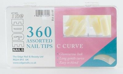 THE EDGE BOX 360 BIG C CURVE NATURAL FULL WELL NAIL TIPS acrylic uv gel