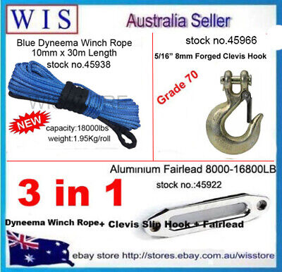10mm x 30m Blue Synthetic Winch Rope & Aluminum Hawse Fairlead & G70 Clevis Hook