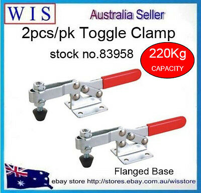 2/PK 220Kg Toggle Clamps,Horizontal Bar with In-line Handle,Flanged Base-83958