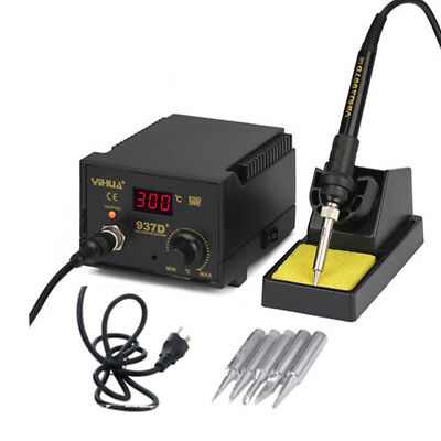 937D+ Electric Iron Soldering Station SMD Welder Welding w Stand Sponge ESD 110V