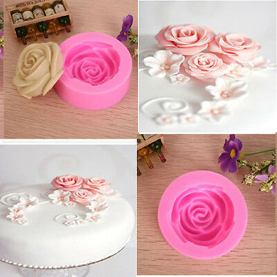 Cake Chocolate Sugarcraft Mold Cutter DIY Silicone Rose Flower 3D Fondant Tools