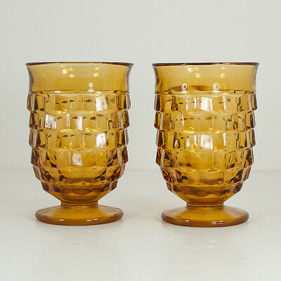 Vintage Pair of 1970s Amber Gold Juice Glasses Indiana Whitehall Cubist Style
