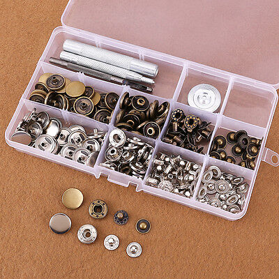 Heavy Duty Snap Fasteners 10/12.5/15/17mm x 50 Press Studs Kit Buttons W Tool
