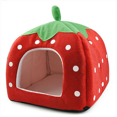 Soft Strawberry Pet Igloo Dog Cat Bed House Cushion Basket Red Red - L KL