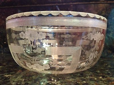 HAWKES AMERICAN BRILLIANT PERIOD SIGNED FLORAL CRYSTAL BOWL