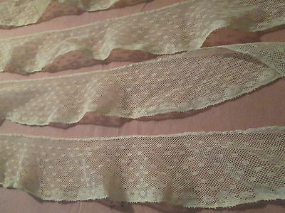 """antique French val TULLE net vintage lace 2 yards +7""""   X  2"""""""