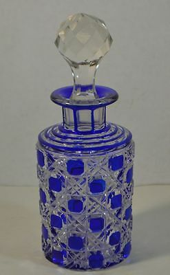 Antique Bohemian Blue Cut to Clear Crystal Perfume Bottle
