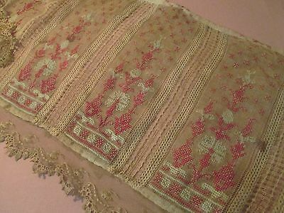 Very Old EMBROIDERED curtain ANTIQUE grubby lace FOLK ART cross stitch