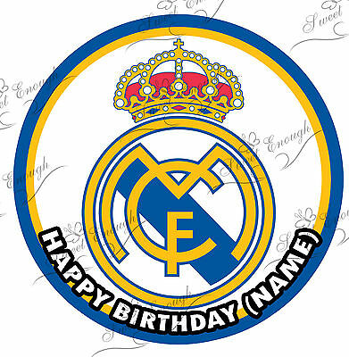REAL MADRID Large 8'' Cake Topper Edible ICING Paper BIRTHDAY PERSONALISED