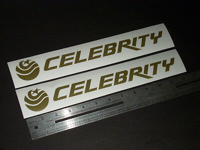 """Celebrity Boats Vintage Gold Decal 12"""" Stickers (Pair)"""