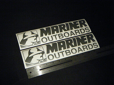 """Mariner Outboards Silver Decal 12"""" Stickers (Pair)"""
