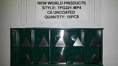 New World Products TPG 221 MP4 C5 Uncoated Carbide Inserts 10pcs TPGN 110304