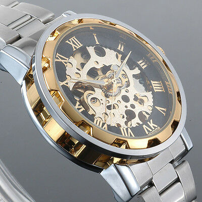 AK-Homme Skeleton Roman Number Automatic Mechanical Wrist Watch for Men + Box